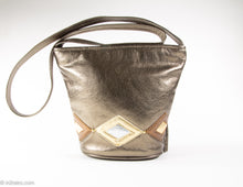 Load image into Gallery viewer, VINTAGE PRE-LOVED BRONZE METALLIC LEATHER BUCKET-STYLE SHOULDER/CROSSBODY BAG