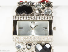 "Load image into Gallery viewer, VINTAGE ""VICE VERSA"" MULTI-COLOR RHINESTONE HEARTS SILVER TONE QUARTZ BLING BRACELET WRISTWATCH"