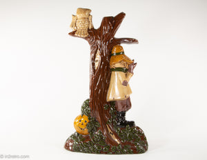 CERAMIC SPOOKY TREE WITH SCARECROW, JACK O'LANTERN PUMPKINS, AND OWL