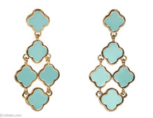 "Load image into Gallery viewer, VINTAGE TURQUOISE ENAMEL ""ALHAMBRA"" GOLDTONE DANGLES PIERCED/POST EARRINGS"