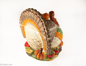 VINTAGE CERAMIC TOM TURKEY SHAPED SOUP TUREEN WITH SQUASH HANDLED LID PERFECT FOR THANKSGIVING