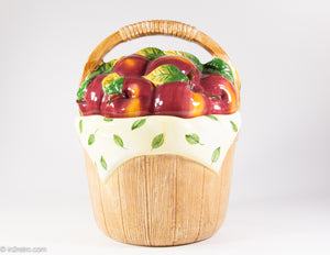 "VINTAGE ""COOKS CLUB"" CLASSIC BASKET OF APPLES COOKIE JAR"