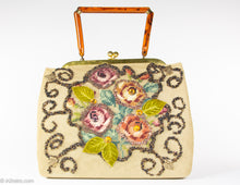 "Load image into Gallery viewer, VINTAGE 1950S ""F. L. FIFTH AVENUE NEW YORK"" NEEDLEPOINT FLORAL EMBELLISHED BEADED JEWELED HANDBAG"