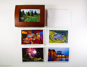 BETHEL WOODS CENTER FOR THE ARTS WOODEN BOX OF PHOTO STATIONARY & ENVELOPES W/ GLASS PHOTO FRAME