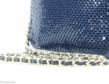 "Load image into Gallery viewer, VINTAGE ""WHITING AND DAVIS"" SHOULDER/CROSSBODY BAG NAVY BLUE METAL MESH LEATHER CAMERA GOLD CHAIN"