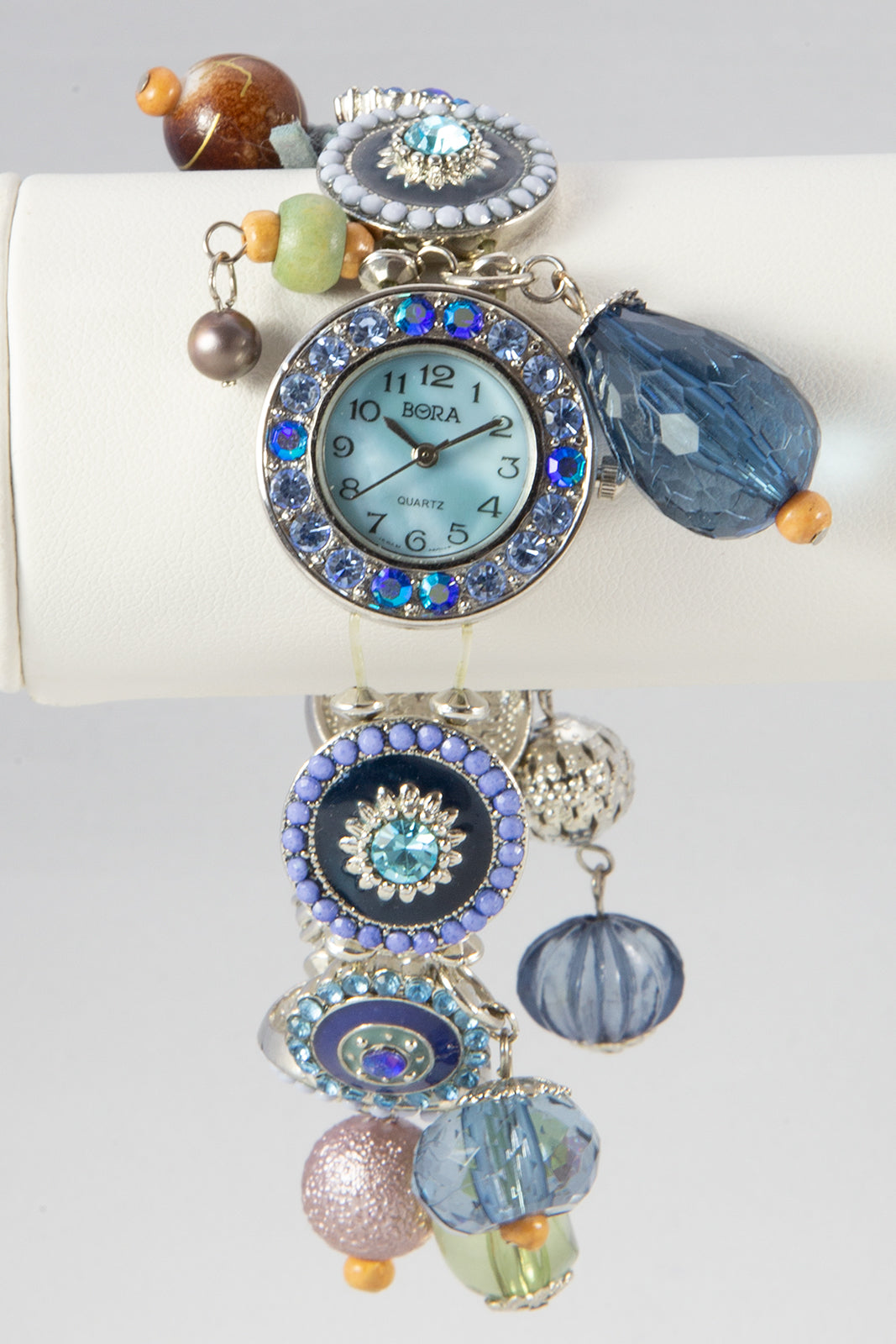 LADIES BORA MOTHER OF PEARL STRETCH BLUE DANGLES WRISTWATCH BRACELET