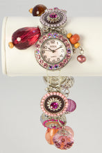 Load image into Gallery viewer, LADIES BORA MOTHER OF PEARL STRETCH PINK DANGLES CHA CHA WRISTWATCH BRACELET