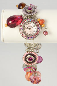 LADIES BORA MOTHER OF PEARL STRETCH PINK DANGLES CHA CHA WRISTWATCH BRACELET