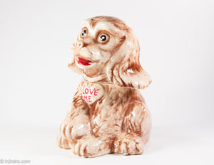 VINTAGE 'LOVE ME'  BROWN PUPPY DOG COOKIE JAR