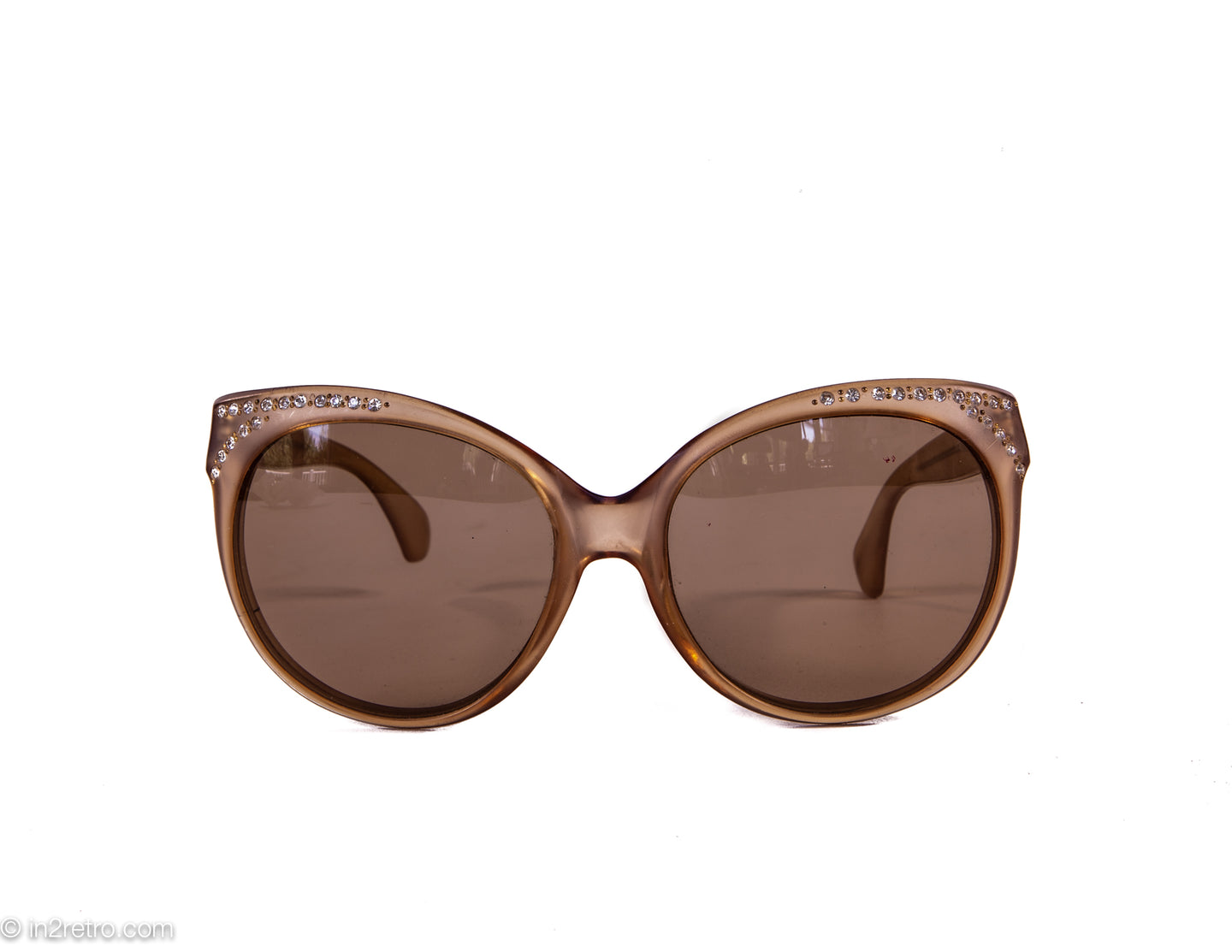 VINTAGE TAUPE/BROWN FROST OVERSIZED 1980s BLING SUNGLASSES - MADE IN FRANCE