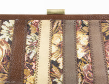 Load image into Gallery viewer, VINTAGE PRE-LOVED 1960s BROWN/BEIGE TAPESTRY LEATHERETTE STRIPED CLUTCH BAG