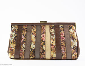 VINTAGE PRE-LOVED 1960s BROWN/BEIGE TAPESTRY LEATHERETTE STRIPED CLUTCH BAG