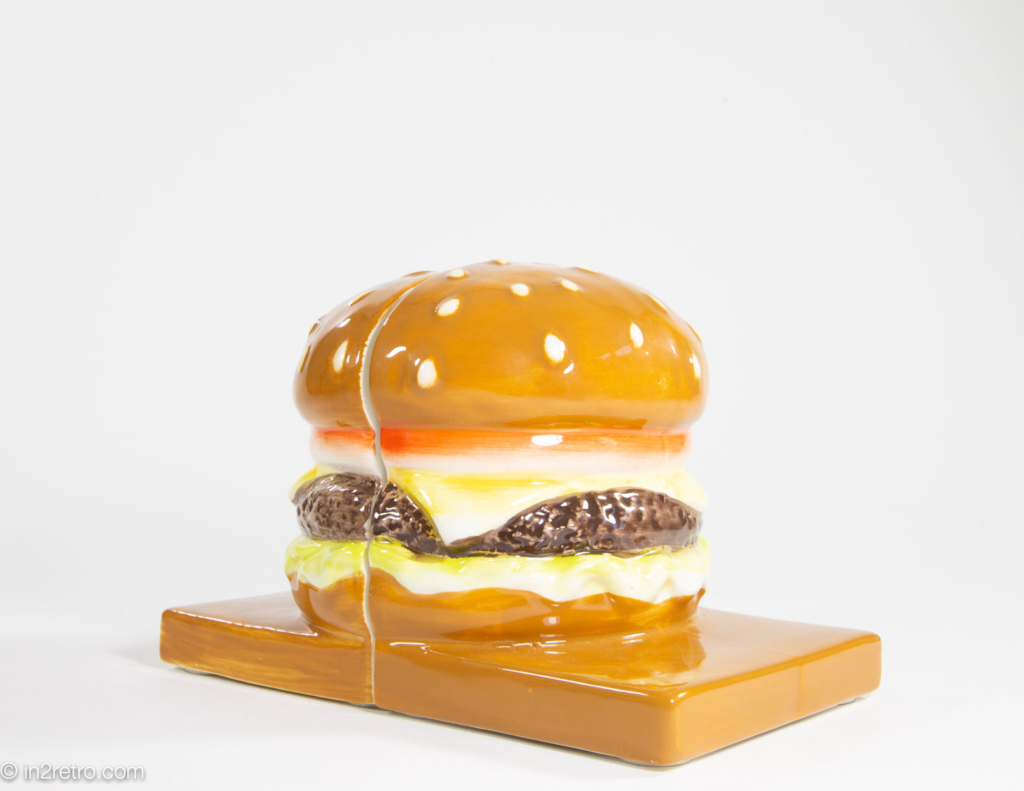 CERAMIC CHEESE BURGER BOOKENDS (ADVERTISING?)