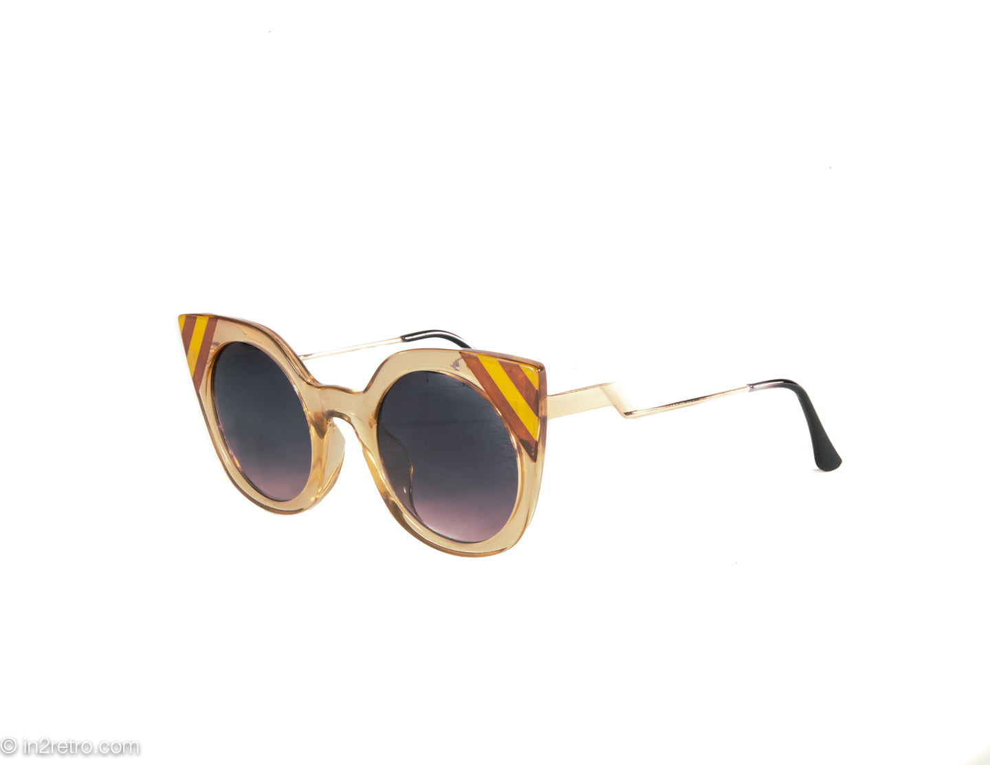 VINTAGE CAT EYE SUNGLASSES WITH TAN STRIPED TEMPLES GOLD METAL ARMS
