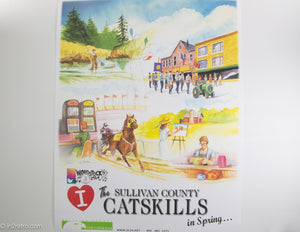 RARE POSTER 'I LOVE THE SULLIVAN COUNTY CATSKILLS IN SPRING' WOODSTOCK 50TH ANNIV. POSTAGE STAMP