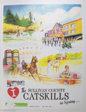 Load image into Gallery viewer, RARE POSTER 'I LOVE THE SULLIVAN COUNTY CATSKILLS IN SPRING' WOODSTOCK 50TH ANNIV. POSTAGE STAMP