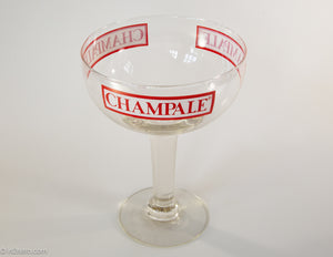 VINTAGE 10.5 INCH CHAMPALE CHAMPAGNE OVERSIZED GLASS COUPE | ALCOHOL | ADVERTISING | RARE