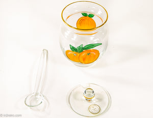 VINTAGE 3 PIECE ROMANIAN CHRYSTAL WITH GOLD TRIM GLASS ORANGE MARMALADE JAR WITH LID AND SERVING SPOON