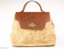 Load image into Gallery viewer, VINTAGE PRE-LOVED CORK AND PEBBLED LEATHER FLAP & HANDLE HANDBAG - 1960s