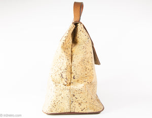 VINTAGE PRE-LOVED CORK AND PEBBLED LEATHER FLAP & HANDLE HANDBAG - 1960s