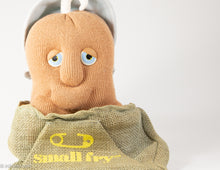 "Load image into Gallery viewer, VINTAGE 1987 COUCH POTATO BOY SMALL FRY PLUSH BURLAP SACK 10"" BY ROBERT ARMSTRONG BLUE EYES"