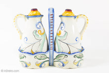 Load image into Gallery viewer, VINTAGE FITZ AND FLOYD RICAMO CERAMIC OIL & VINEGAR 5 PIECE SET TUSCAN DESIGN/ ORIGINAL LABELS
