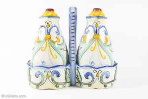 VINTAGE FITZ AND FLOYD RICAMO CERAMIC OIL & VINEGAR 5 PIECE SET TUSCAN DESIGN/ ORIGINAL LABELS