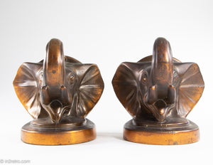 "PAIR OF VINTAGE ""TRUNKS-UP/ GOOD LUCK"" COPPER/BRASS METAL ELEPHANT HEAD BOOKENDS"