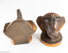 "Load image into Gallery viewer, PAIR OF VINTAGE ""TRUNKS-UP/ GOOD LUCK"" COPPER/BRASS METAL ELEPHANT HEAD BOOKENDS"