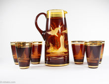 Load image into Gallery viewer, 24K GOLD LEAF & CRYSTAL 7 PIECE VINTAGE FRIEDERICH EGERMANN CZECH BOHEMIAN ETCHED 1 PITCHER & 6 GLASS SET
