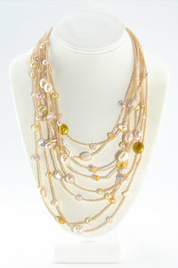 HANDCRAFTED FRESHWATER PEARL IRIDESCENT BEAD MULTI-STRAND WATERFALL LAYERED NECKLACE GOLD COLORED