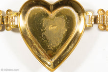 Load image into Gallery viewer, VINTAGE CORO GOLD TONE EMERALD GREEN RHINESTONES HEART BRACELET - 1950s