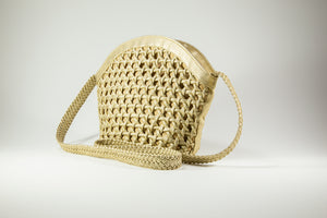 "VINTAGE PRE-LOVED ""TIANNI GOLDEN WOVEN SHOULDER BAG WITH BRAIDED STRAP 