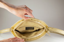 "Load image into Gallery viewer, VINTAGE PRE-LOVED ""TIANNI GOLDEN WOVEN SHOULDER BAG WITH BRAIDED STRAP 