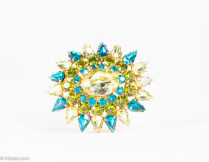 VINTAGE AUSTRIA TURQUOISE, LIME GREEN AND YELLOW PIN/BROOCH