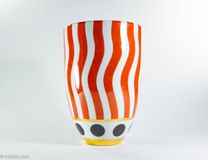 STRIKING BOLD RED/WHITE STRIPED FRENCH VASE WITH GOLD BOTTOM ACCENT | SIGNED FREDRICK DELUCA, PARIS