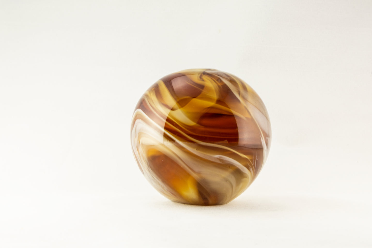 4 INCH SPHERE AMBER SOLID GLASS MURANO-ESQUE SCULPTURE | BROWN/TAN/WHITE | PAPERWEIGHT | DECOR GIFT