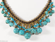 Load image into Gallery viewer, VINTAGE TURQUOISE BEADS/GOLD BALLS NECKLACE