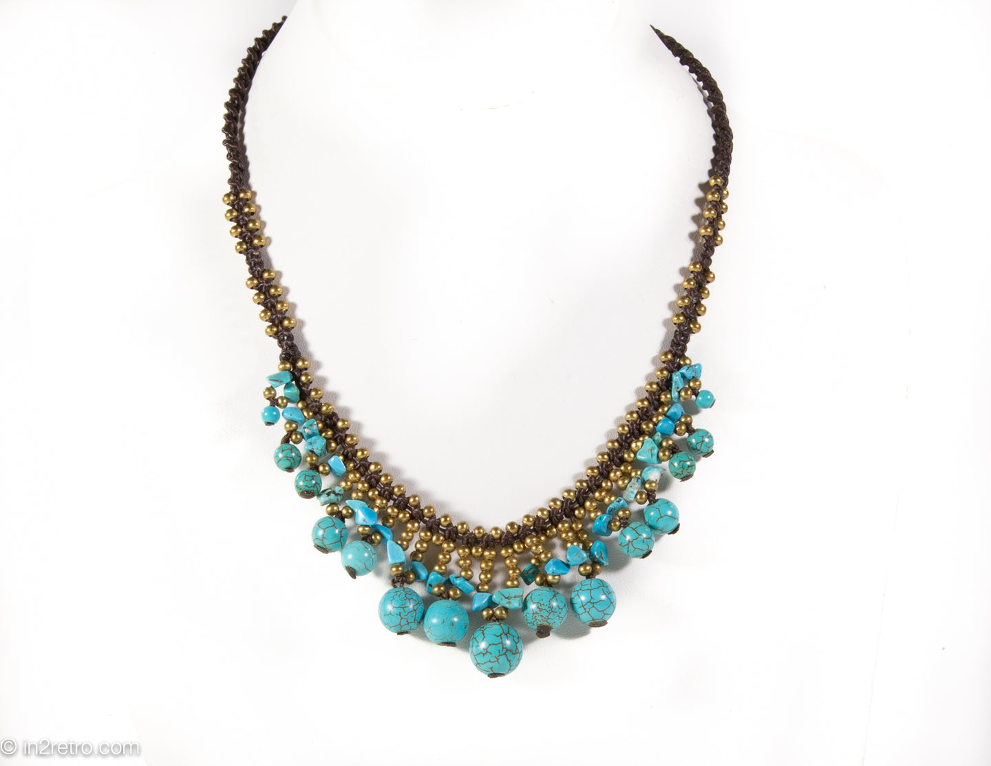 VINTAGE TURQUOISE BEADS/GOLD BALLS NECKLACE