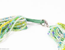 Load image into Gallery viewer, VINTAGE IRIDESCENT GREEN SEED BEADS MULTI-STRANDS TORSADE NECKLACE