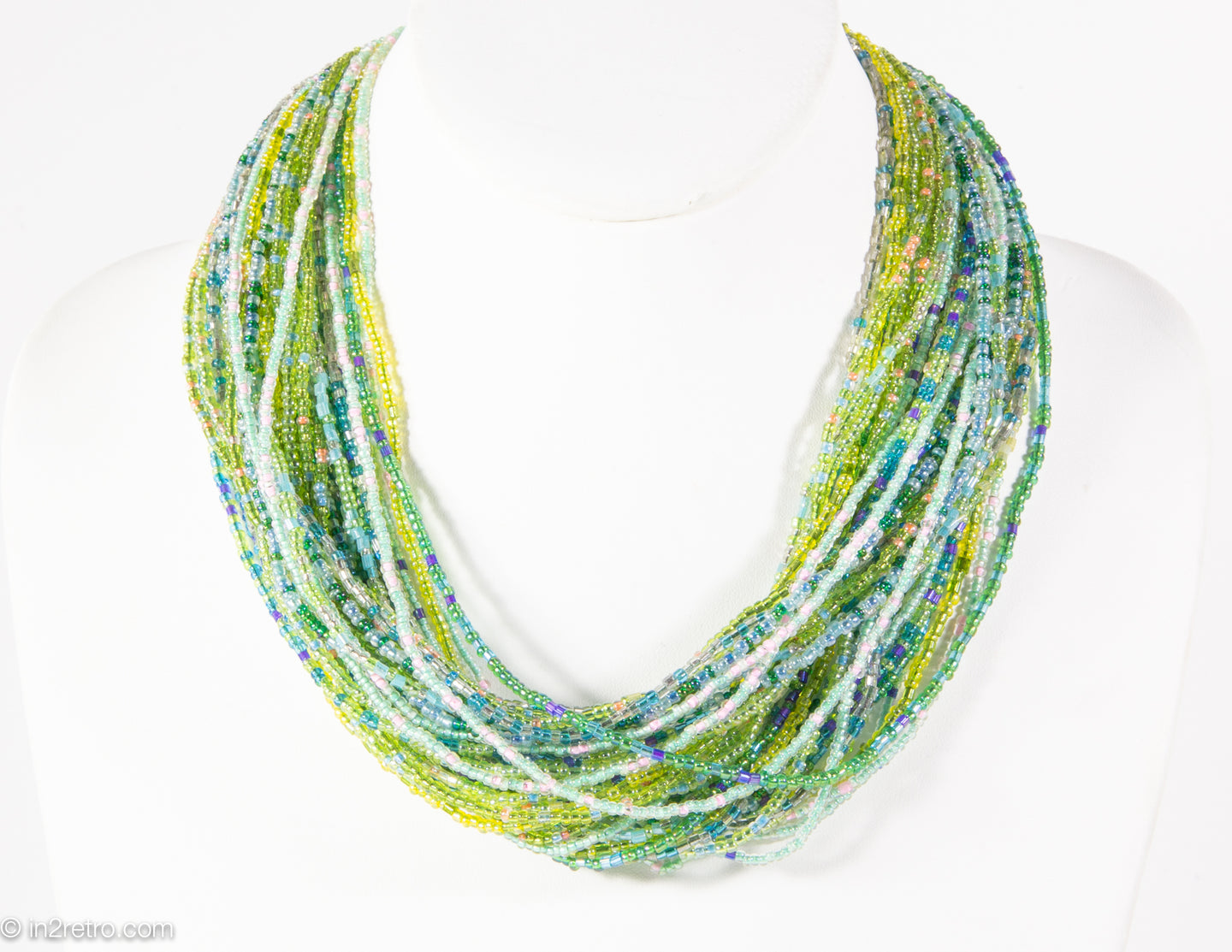 VINTAGE IRIDESCENT GREEN SEED BEADS MULTI-STRANDS TORSADE NECKLACE