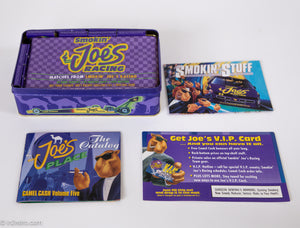 VINTAGE RACING JOE CAMEL RACING 50 BOOKS OF MATCHES GIFT BOX PURPLE COLLECTOR'S TIN | UNOPENED MINT