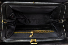 "Load image into Gallery viewer, VINTAGE PRE-LOVED ""LEWIS"" BLACK CUT VELVET SATIN LINED EVENING BAG GOLD ENAMELED U KISS-LOCK CLOSURE"