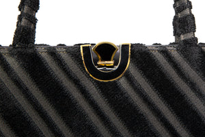 "VINTAGE PRE-LOVED ""LEWIS"" BLACK CUT VELVET SATIN LINED EVENING BAG GOLD ENAMELED U KISS-LOCK CLOSURE"