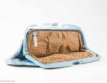 Load image into Gallery viewer, VINTAGE PRE-LOVED WOVEN BLUE WITH PLASTIC FRAME CLUTCH/ BAG - MADE IN ITALY