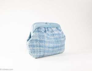 VINTAGE PRE-LOVED WOVEN BLUE WITH PLASTIC FRAME CLUTCH/ BAG - MADE IN ITALY
