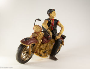 AMAZING RARE VINTAGE HAND MADE HARLEY DAVIDSON 1948 PANHEAD MOTORCYCLE RIDER SCULPTURE HAND PAINTED