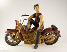 Load image into Gallery viewer, AMAZING RARE VINTAGE HAND MADE HARLEY DAVIDSON 1948 PANHEAD MOTORCYCLE RIDER SCULPTURE HAND PAINTED