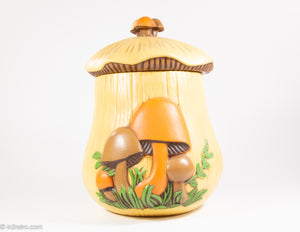 "VINTAGE 1970S ""ARNEL'S"" HARVEST GOLD MUSHROOM COOKIE JAR"