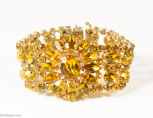 Load image into Gallery viewer, VINTAGE CITRINE PRONG-SET RHINESTONES WIDE BRACELET/ 1940s